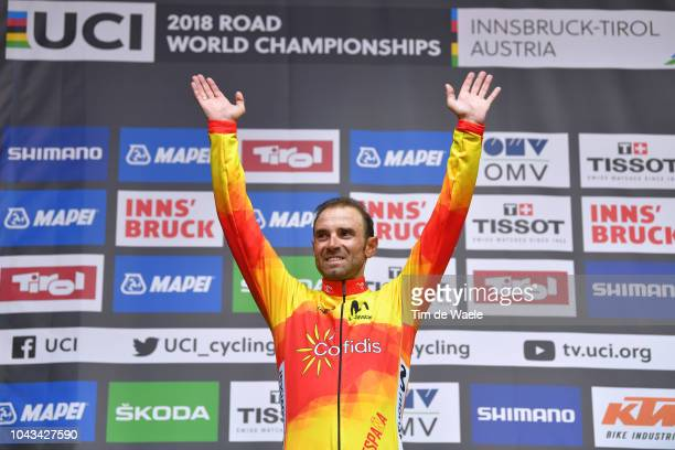 Podium / Alejandro Valverde of Spain Gold Medal / Celebration / during the Men Elite Road Race a 258,5km race from Kufstein to Innsbruck 582m at the...