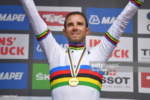 Podium / Alejandro Valverde of Spain Gold Medal / Celebration / during the Men Elite Road Race a 2585km race from Kufstein to Innsbruck 582m at the...