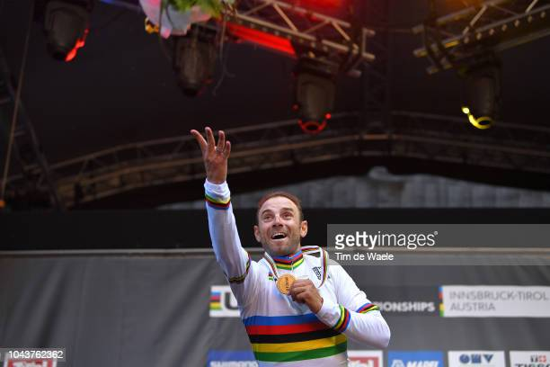 Podium / Alejandro Valverde of Spain Gold Medal / Celebration / Flowers / during the Men Elite Road Race a 2585km race from Kufstein to Innsbruck...