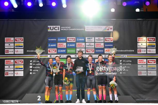Podium / Alena Amaliusik of Belarus / Alice Barnes of Great Britain / Hannah Barnes of Great Britain / Elena Cecchini of Italy / Lisa Klein of...