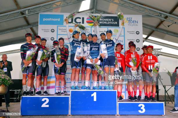 Podium / Alena Amialiusik of Belarus and Canyon SRAM Racing Team / Alice Barnes of United Kingdom and Canyon SRAM Racing Team / Hannah Barnes of...