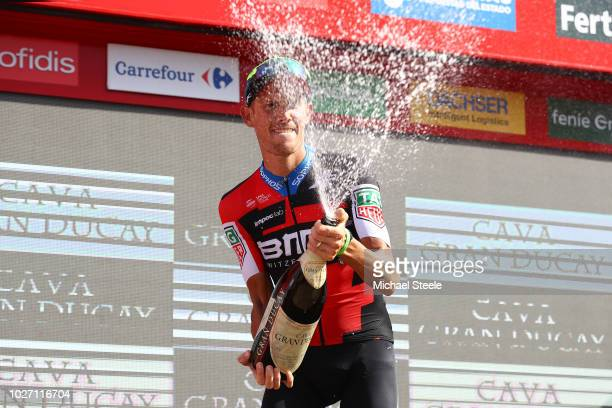 Podium / Alessandro De Marchi of Italy and BMC Racing Team / Celebration / Champagne / during the 73rd Tour of Spain 2018 Stage 11 a 2078km stage...