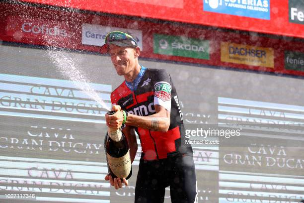 Podium / Alessandro De Marchi of Italy and BMC Racing Team / Celebration / during the 73rd Tour of Spain 2018 Stage 11 a 2078km stage from Mombuey to...