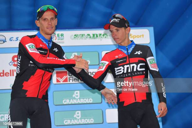 Podium / Alessandro De Marchi of Italy and BMC Racing Team / Dylan Teuns of Belgium and BMC Racing Team / Celebration / during the 101th Giro...