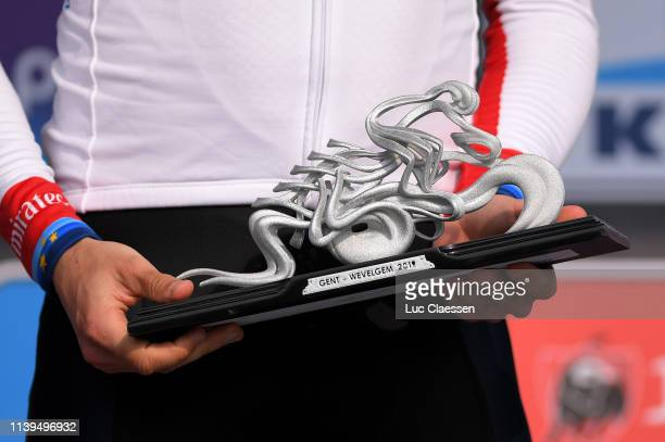 Podium / Alexander Kristoff of Norway and UAE Team Emirates / Celebration / Trophy / Detail view / during the 81st GentWevelgem In Flanders Fields...