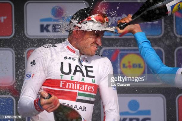 Podium / Alexander Kristoff of Norway and UAE Team Emirates / Oliver Naesen of Belgium and Team AG2R La Mondiale / Celebration / Champagne / during...