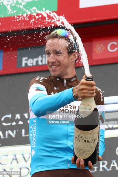 Podium / Alexandre Geniez of France and Team AG2R La Mondiale / Celebration / Champagne / during the 73rd Tour of Spain 2018 Stage 12 a 1811km stage...