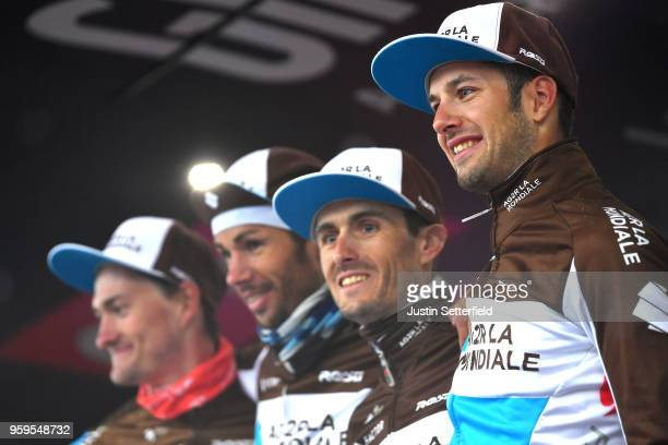 Podium / Alexandre Geniez of France / Hubert Dupont of France / Nico Denz of Germany / Mickael Cherel of France / Team AG2R La Mondiale / Super Team...