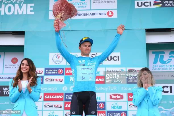 Podium / Alexey Lutsenko of Kazahkstan and Astana Pro Team Blue Leader Jersey / Celebration / during the 54th Presidential Cycling Tour Of Turkey,...
