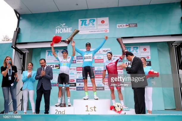 Podium / Alexey Lutsenko of Kazahkstan and Astana Pro Team / Eduard Prades Reverte of Spain and Team Euskadi Basque CountryMurias Blue Leader Jersey...