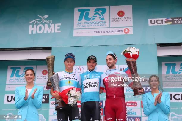 Podium / Alexey Lutsenko of Kazahkstan and Astana Pro Team / Eduard Prades Reverte of Spain and Team Euskadi Basque Country-Murias Blue Leader Jersey...