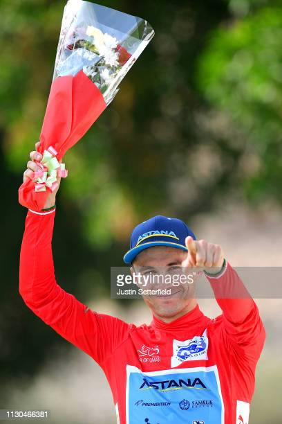 Podium / Alexey Lutsenko of Kazahkstan and Astana Pro Team Red Leader Jersey / Celebration / during the 10th Tour of Oman 2019, Stage 3 a 192,5km...