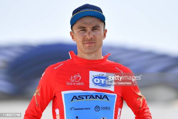 Podium / Alexey Lutsenko of Kazahkstan and Astana Pro Team Red Leader Jersey / Celebration / during the 10th Tour of Oman 2019 Stage 4 a 131km stage...
