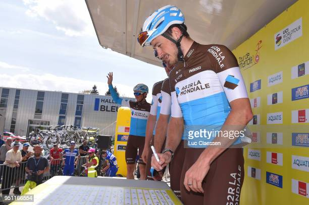 Podium / Alexis Gougeard of France and Team AG2R La Mondiale /during the 72nd Tour de Romandie 2018 Stage 1 a 1666km stage from Fribourg to Delemont...
