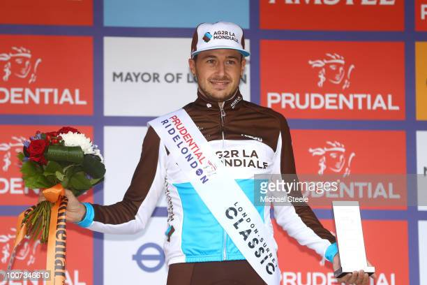 Podium / Alexis Gougeard of France and Team AG2R La Mondiale Most Combative Rider / Celebration / during the 7th Prudential RideLondonSurrey Classic...