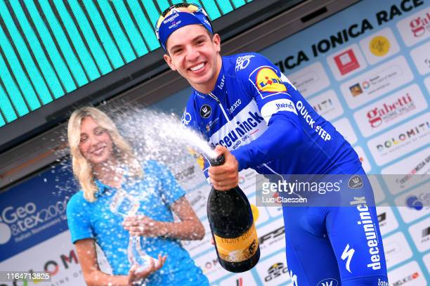Podium / Alvaro Hodeg of Colombia and Team Deceuninck-QuickStep / Celebration / Champagne / Miss / Hostess / during the 2nd Adriatica Ionica Race...