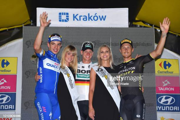Podium / Alvaro Jose Hodeg Chagui of Colombia and Team Quick-Step Floors / Pascal Ackermann of Germany and Team Bora-Hansgrohe / Matteo Trentin of...