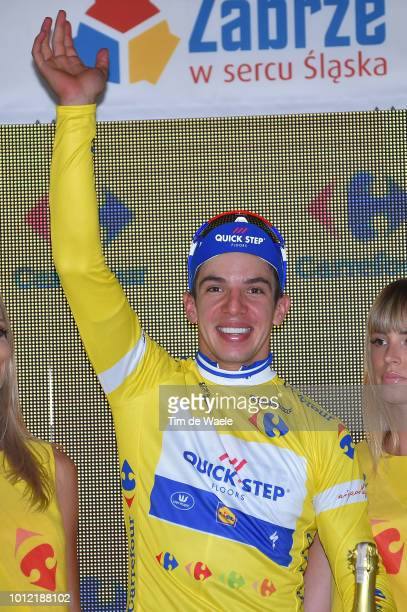 Podium / Alvaro Jose Hodeg Chagui of Colombia and Team Quick-Step Floors Yellow Leader Jersey / Celebration / Champagne / during the 75th Tour of...