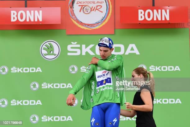 Podium / Alvaro Jose Hodeg of Colombia and Team Quick-Step Floors Green Sprint Jersey / Celebration / during the 33rd Deutschland Tour 2018, a 157km...