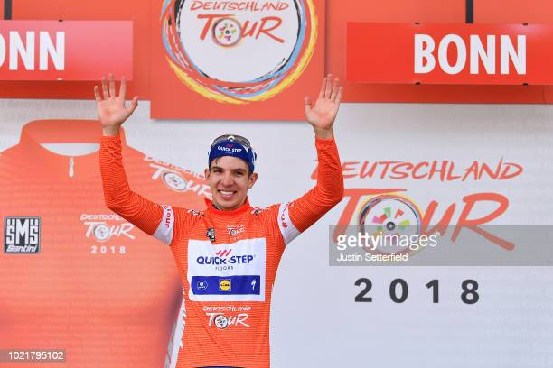 Podium / Alvaro Jose Hodeg of Colombia and Team Quick-Step Floors Red Leader Jersey / Celebration / during the 33rd Deutschland Tour 2018, a 157km...