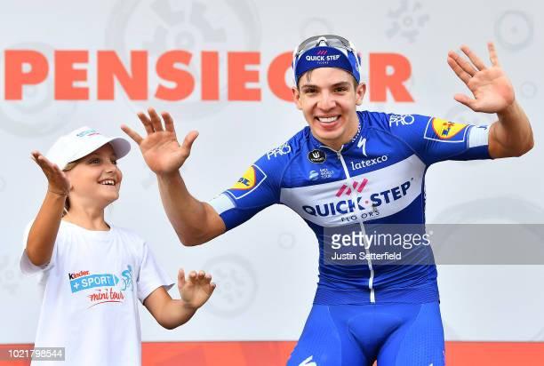 Podium / Alvaro Jose Hodeg of Colombia and Team Quick-Step Floors / Celebration / Children / during the 33rd Deutschland Tour 2018, a 157km stage...