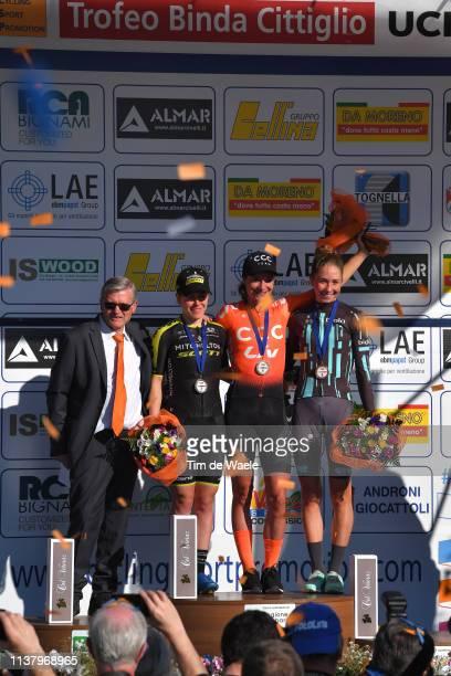 Podium / Amanda Spratt of Australia and Team Mitchelton Scott / Marianne Vos of The Netherlands and Team CCC - Liv / Cecilie Uttrup Ludwig of Denmark...