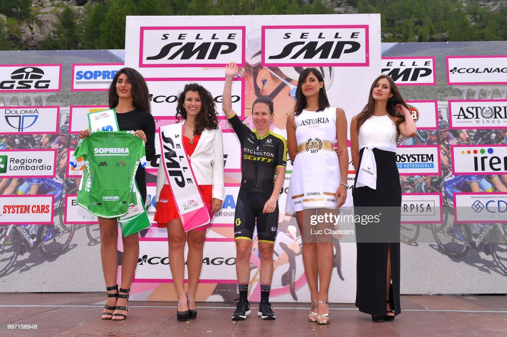 Podium / Amanda Spratt of Australia and Team Mitchelton-Scott / Green points jersey / Celebration / during the 29th Tour of Italy 2018 - Women, Stage 7 a 15km Individual time trial stage from Lanzada to Diga Di Campo Moro 2000m / Giro Rosa / on July 12, 2018 in Diga Di Campo Moro, Italy.