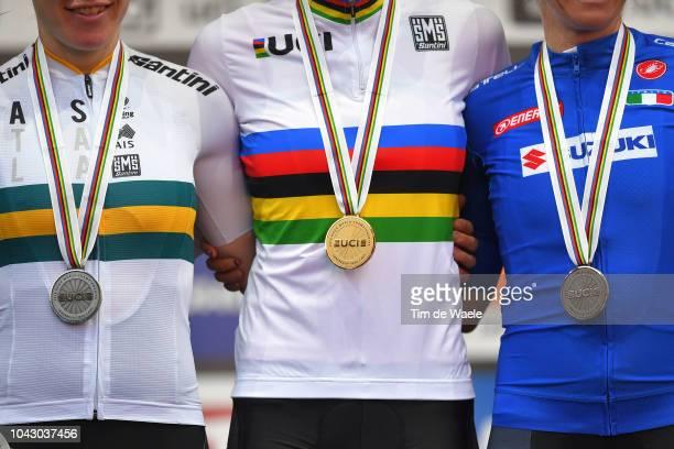 Podium / Amanda Spratt of Australia Silver Medal / Anna Van Der Breggen of The Netherlands Gold Medal / Tatiana Guderzo of Italy Bronze Medal /...