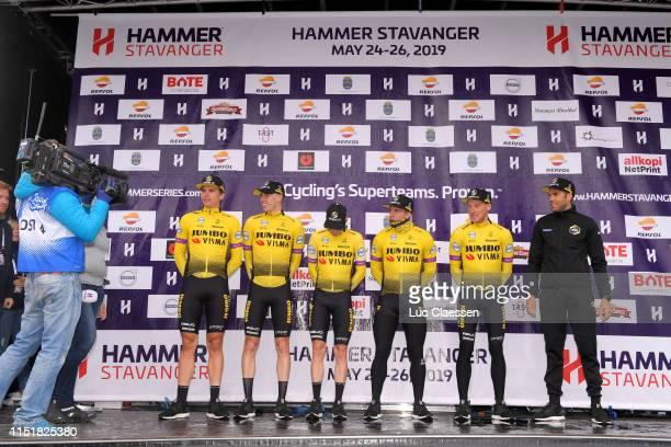 Podium / Amund Grondahl Jansen of Norway and Team Jumbo - Visma / Dylan Groeneweger of The Netherlands and Team Jumbo - Visma / Pascal Eenkhoorn of...
