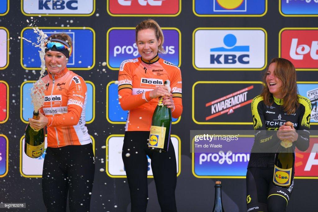 Podium / Amy Pieters of The Netherlands and Boels - Dolmans Cycling Team / Anna Van Der Breggen of The Netherlands and Boels - Dolmans Cycling Team / Annemiek Van Vleuten of The Netherlands and Team Mitchelton-Scott / Celebration Champagne / during the 15th Tour of Flanders 2018 - Ronde Van Vlaanderen a 150,9km women's race from Oudenaarde to Oudenaarde on April 1, 2018 in Oudenaarde, Belgium.