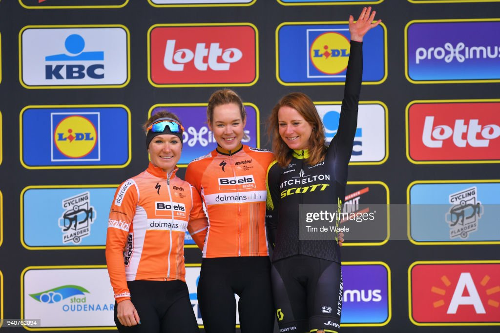 Podium / Amy Pieters of The Netherlands and Boels - Dolmans Cycling Team / Anna Van Der Breggen of The Netherlands and Boels - Dolmans Cycling Team / Annemiek Van Vleuten of The Netherlands and Team Mitchelton-Scott /Celebration / during the 15th Tour of Flanders 2018 - Ronde Van Vlaanderen a 150,9km women's race from Oudenaarde to Oudenaarde on April 1, 2018 in Oudenaarde, Belgium.