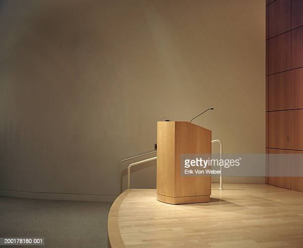 Podium and microphone  in room