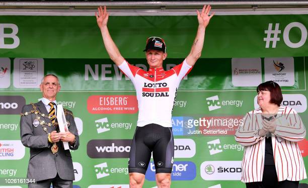 Podium / Andre Greipel of Germany and Team Lotto Soudal / Celebration / during the 15th Tour of Britain 2018 Stage 1 a 1748km stage from Pembrey...