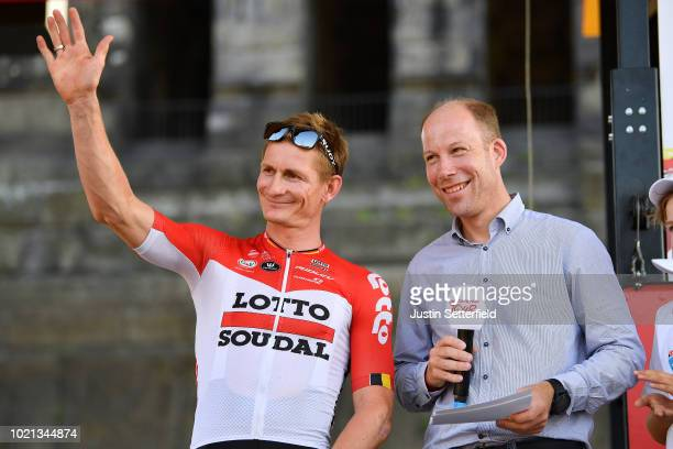 Podium / Andre Greipel of Germany and Team Lotto Soudal / during the 33rd Deutschland Tour 2018, Team Presentation / Deine Tour / on August 22, 2018...