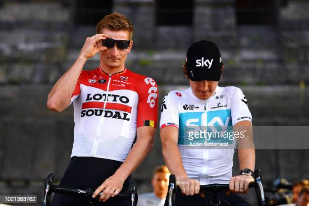 Podium / Andre Greipel of Germany and Team Lotto Soudal / Geraint Thomas of Great Britain and Team Sky / during the 33rd Deutschland Tour 2018, Team...