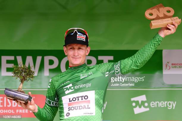 Podium / Andre Greipel of Germany and Team Lotto Soudal Green Leader Jersey / Celebration / during the 15th Tour of Britain 2018 Stage 1 a 1748km...