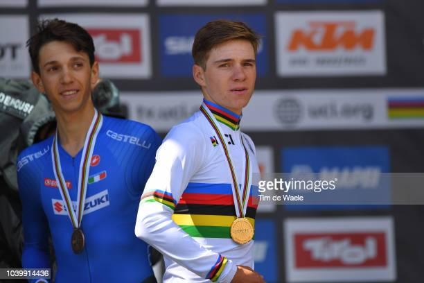 Podium / Andrea Piccolo of Italy Bronze Medal / Remco Evenepoel of Belgium Gold Medal / Celebration / during the Men Juniors Individual Time Trial a...