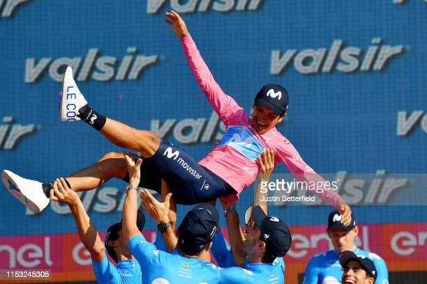 Podium / Andrey Amador Bikkazakova of Costa Rica and Movistar Team / Richard Carapaz of Ecuador and Movistar Team Pink Leader Jersey / Jose Joaquin...