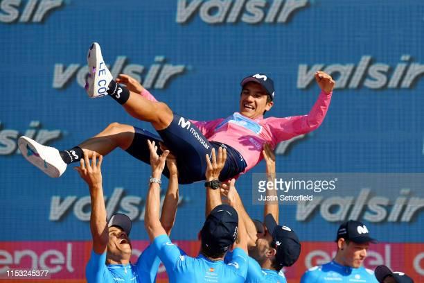 Podium / Andrey Amador Bikkazakova of Costa Rica and Movistar Team / Richard Carapaz of Ecuador and Movistar Team Pink Leader Jersey / Jose Joaquin...