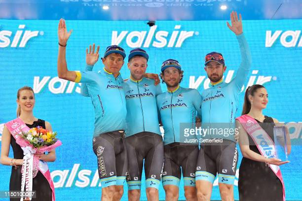 Podium / Andrey Zeits of Kazahkstan and Astana Pro Team / Davide Villella of Italy and Astana Pro Team / Manuele Boaro of Italy and Astana Pro Team /...