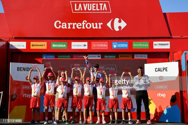 Podium / Angel Madrazo Ruiz of Spain and Team Burgos-BH Polka Dot Mountain Jersey / Celebration / Children / Hostess / during the 74th Tour of Spain...