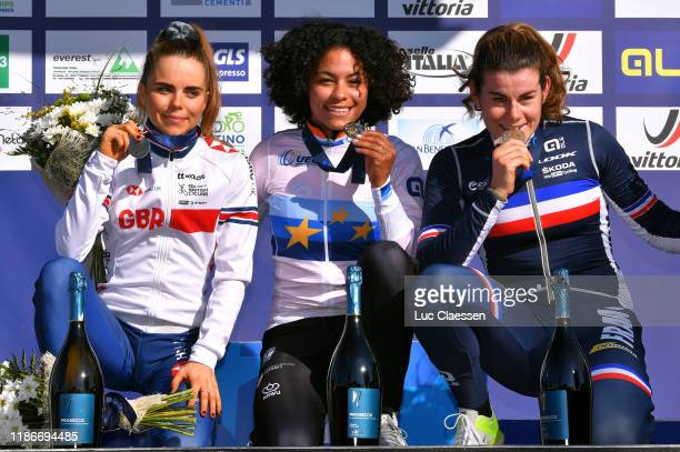 Podium / Anna Kay of United Kingdom Silver medal / Ceylin Del Carmen Alvarado of The Netherlands European Champion Jersey Gold medal / Marion Norbert...