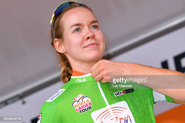 Podium / Anna Van Der Breggen of Netherlands and Team Boels Dolmans Cycling Team Green points jersey Celebration / during the 21st Boels Rental...