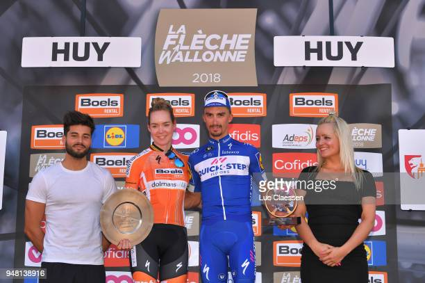 Podium / Anna van der Breggen of Netherlands/ Julian Alaphilippe of France and Team QuickStep Floors / Celebration / during the 82nd La Fleche...