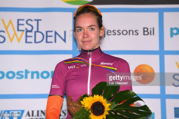 Podium / Anna Van Der Breggen of The Netherlands and Boels - Dolmans Cycling Team / UCI world cup leaders jersey / Celebration /during the 13rd Open...