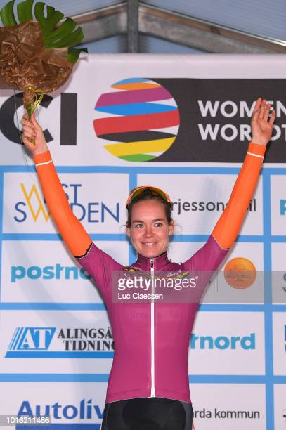 Podium / Anna Van Der Breggen of The Netherlands and Boels Dolmans Cycling Team / UCI world cup leaders jersey / Celebration /during the 13rd Open de...