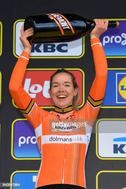 Podium / Anna Van Der Breggen of The Netherlands and Boels Dolmans Cycling Team /Celebration Champagne / during the 15th Tour of Flanders 2018 Ronde...