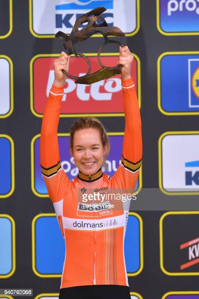 Podium / Anna Van Der Breggen of The Netherlands and Boels Dolmans Cycling Team / Celebration / Trophy / during the 15th Tour of Flanders 2018 Ronde...