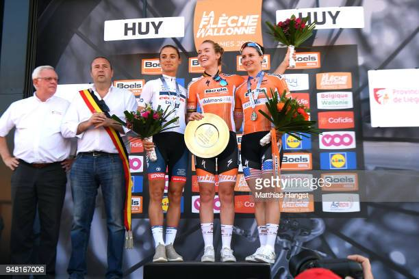 Podium / Anna Van Der Breggen of The Netherlands and Boels Dolmans Cycling Team / Ashleigh Moolman Pasio of South Africa and CerveloBigla Pro Cycling...
