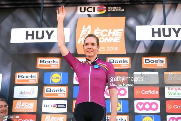 Podium / Anna Van Der Breggen of The Netherlands and Boels Dolmans Cycling Team Leader Jersey / Celebration / during the 21st La Fleche Wallonne 2018...